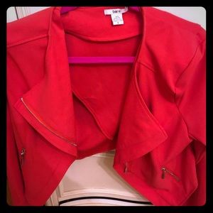 BARIII coral crop blazer jacket with zippers !